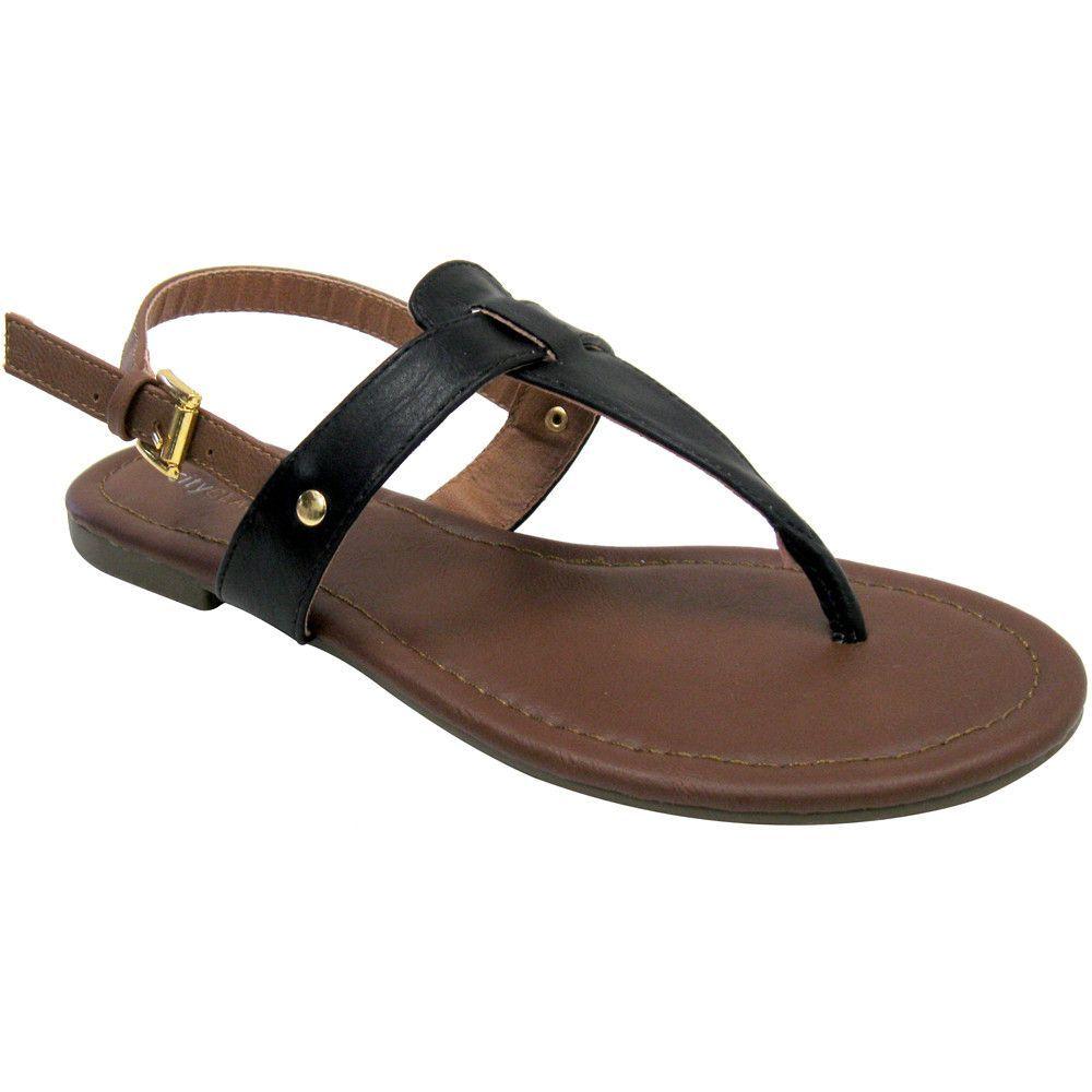 City Classified Lotus-S Vegan Gladiator Sandals (black & tan, clearance, size 6)