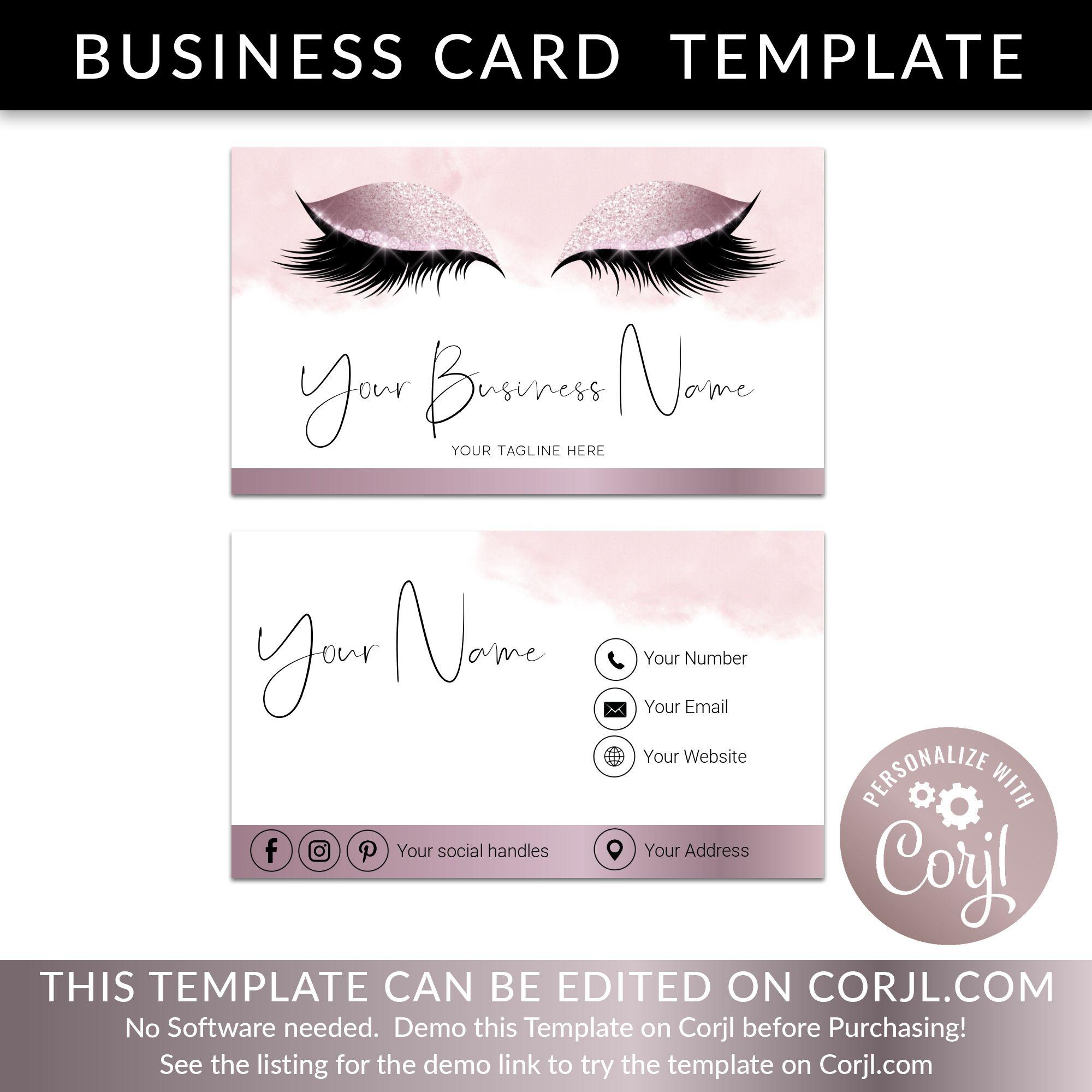 Business card business card template lash logo eyelash