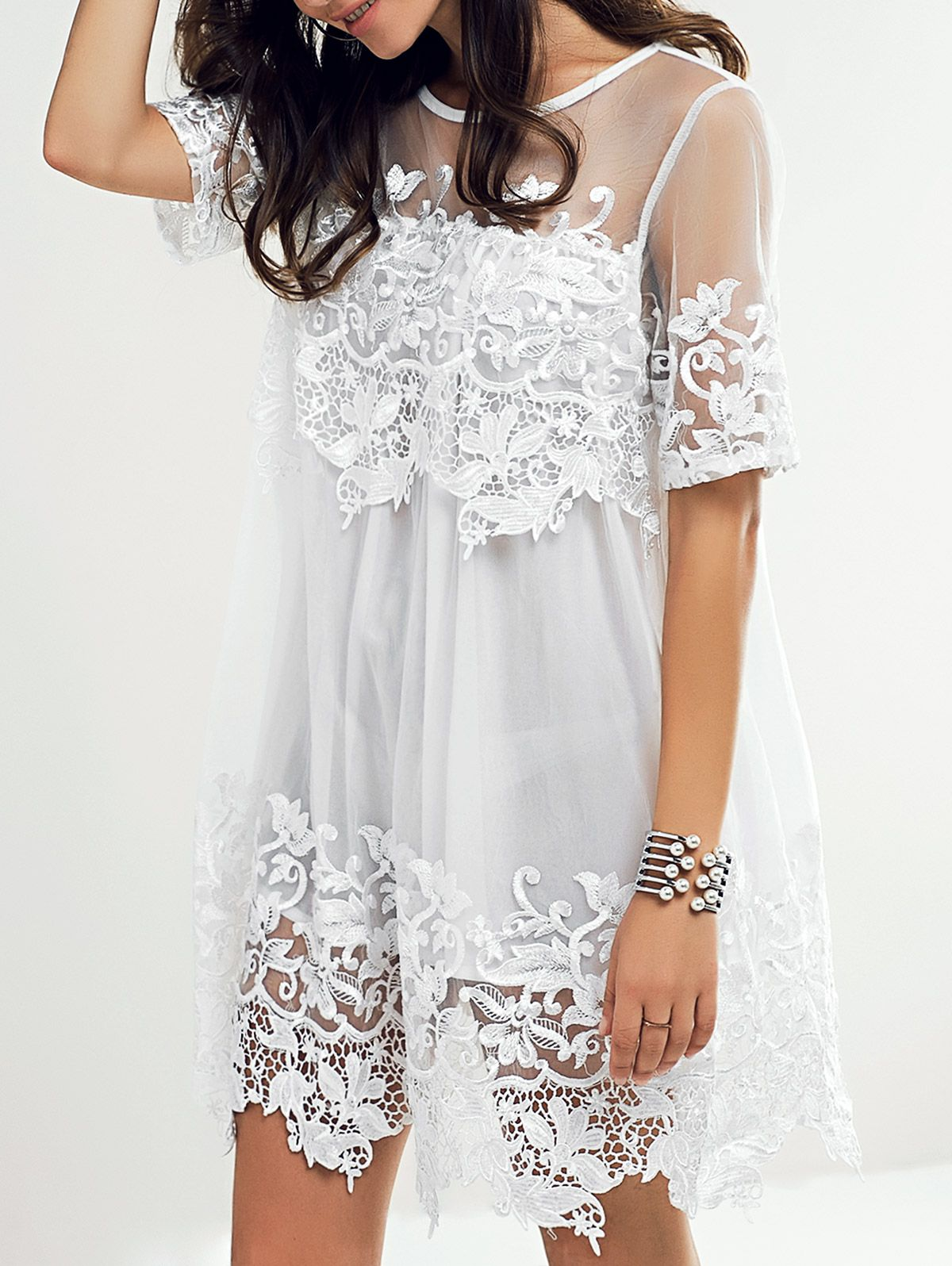Sweet See Through Lace Applique Dress For Women Applique Dress Cheap Lace Dress Lace White Dress