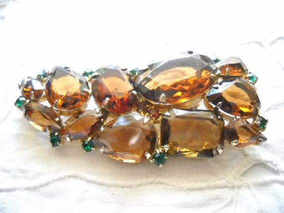 Large Brooch Cut Glass Topaz Amber Emerald Pear by FindCharlotte