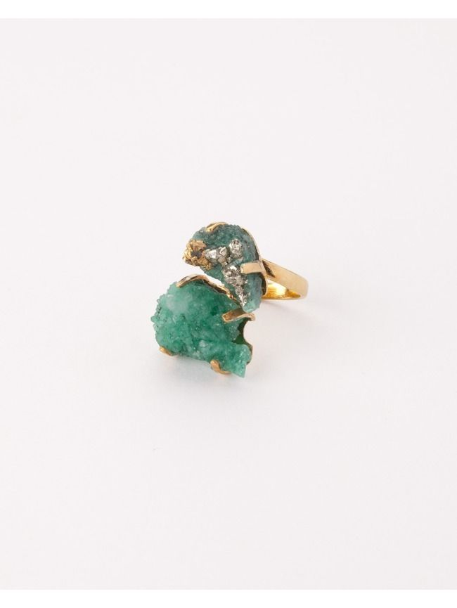 Mama ring with two rough emeralds of 23 carats with pyrite inclusions