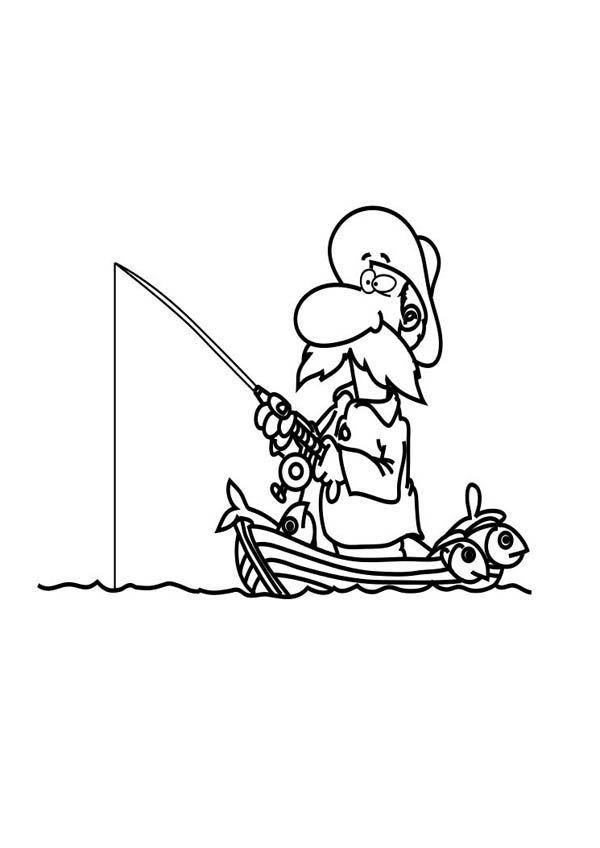 Fisherman Fishing Boat Coloring Page Coloring Sky Coloring Pages Boat Drawing Scrapbook Images