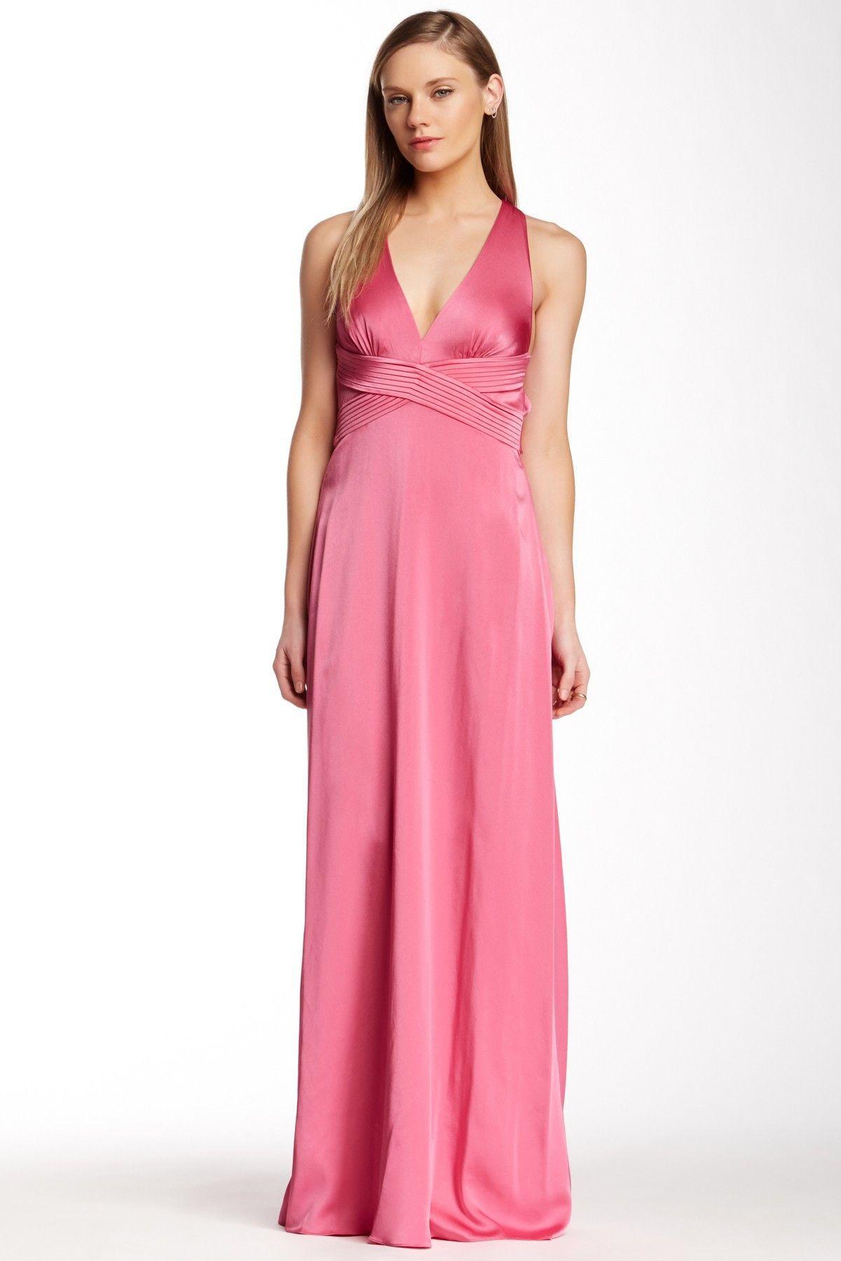 BCBG MaxAzria Crisscross Open Back Halter Style Pink Cerise Evening ...