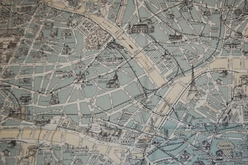 Vintage paris map cotton fabric textilesdrapery pinterest vintage paris map cotton fabric gumiabroncs Gallery