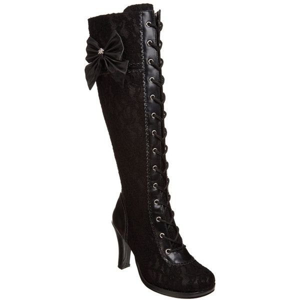 Demonia Women's 'Glam-240' Lolita Lace-up Knee High Boots ($83) ❤ liked on Polyvore featuring shoes, boots, heels, demonia boots, laced up boots, sexy knee boots, laced boots and lace up boots