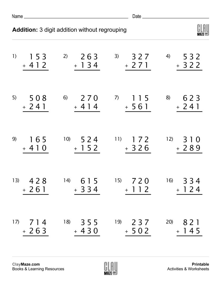 Download Our Free Printable 3 Digit Addition Worksheet W 3rd Grade Math Worksheets Subtraction With Regrouping Worksheets Addition And Subtraction Worksheets