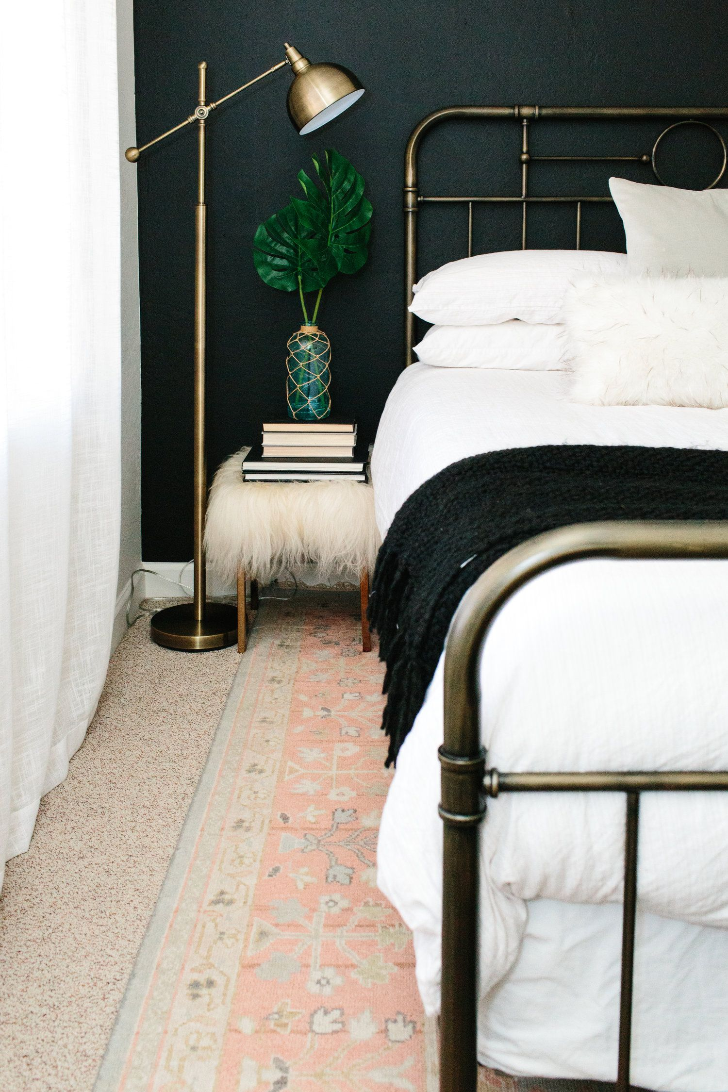 Antique Brass Bed Frame Brass Lamp And Traditional Rug Brass