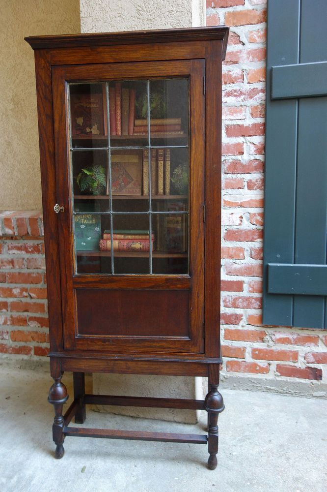 Petite Antique English Oak Jacobean Leaded Glass Door Bookcase