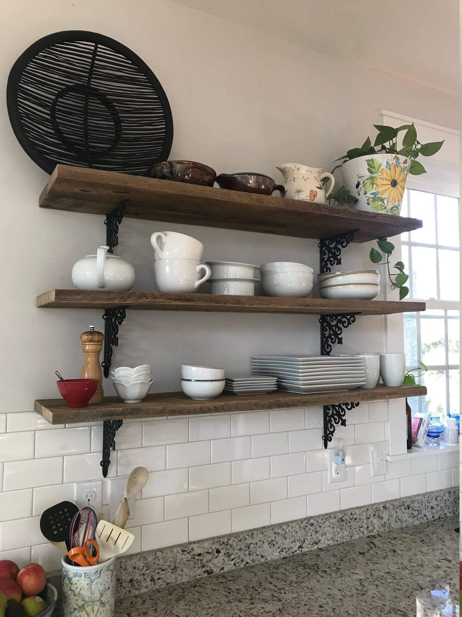 3 36 Inch Barn Wood Farmhouse Kitchen Shelves Reclaimed Industrial Hanging Shelf Display Wall Art Interior Design Beachhousedreamshomeobx Kitchen Remodel Barnwood Shelves Kitchen Remodel Cost