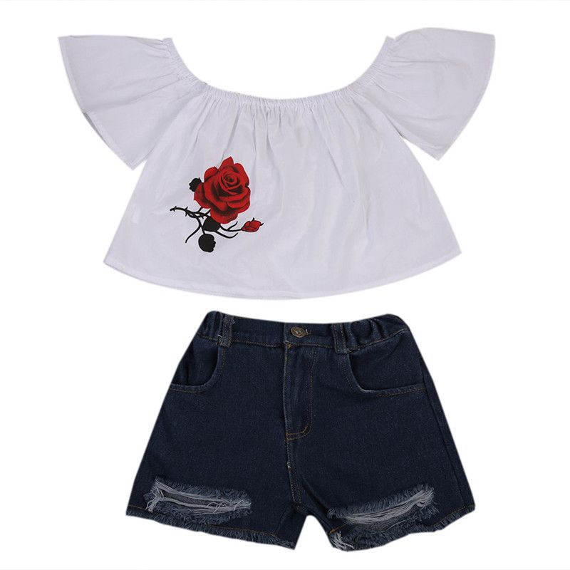 33f108af5a2 Kid Toddler Baby Girls Off shoulder T-shirt Tops Shirt+Shorts Pants Jeans  Outfits Cute Girls Summer Clothes Set  Affiliate
