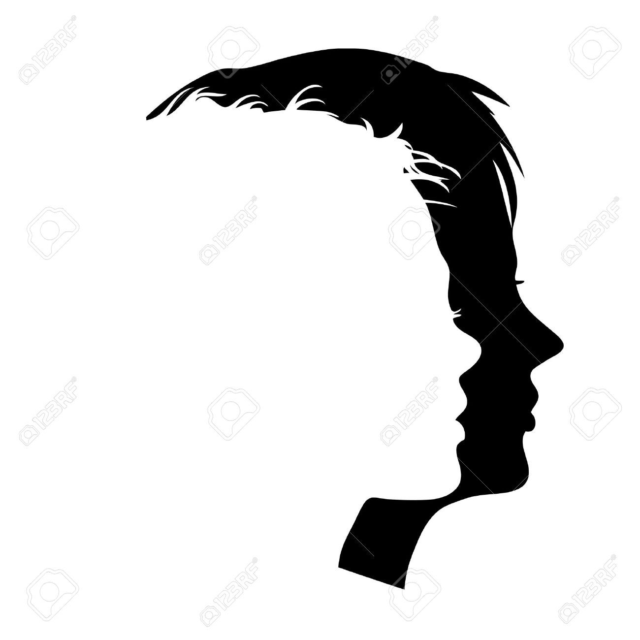 5937954 Vector Man And Woman Faces Profiles Stock Vector Man Silhouette Face Jpg 1 300 1 300 Pixels Man And Woman Silhouette Face Profile Silhouette Face
