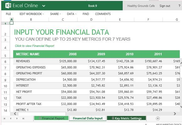 Record Key Financial Metrics for Up to Seven Years Excel lessons - monthly financial report excel template