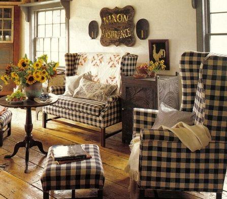 Blue & White Check living room!