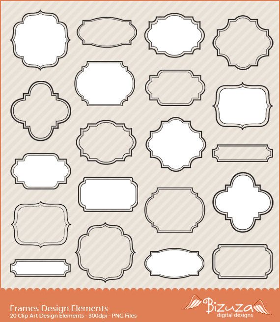 Digital Frameelements For Scrapbook Labels Tags In Png File Clip