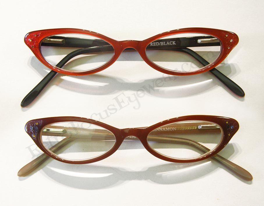 Sleek petite cat eye eyeglass frames in red or cinnamon brown ...