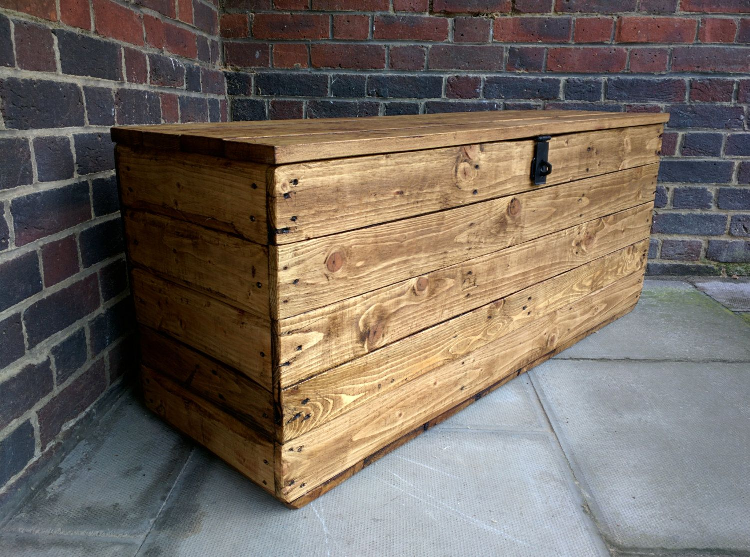Hinged Storage Bench Part - 20: Rustic Storage Bench Seat Handcrafted From Reclaimed Wood With Hinged Lid  By TimberWolfFurniture On Etsy