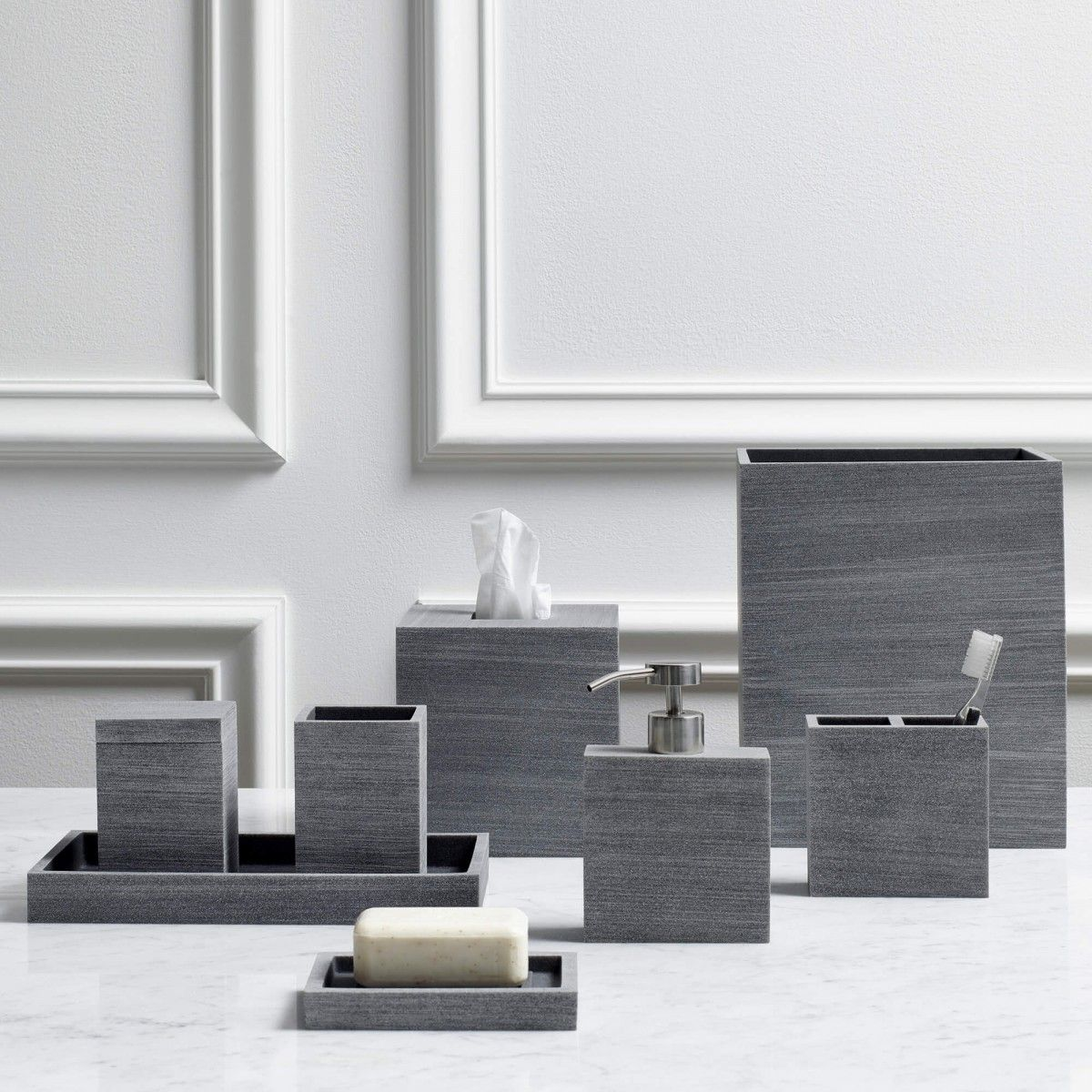 slate bath accessories | gray bathroom accessories, gray