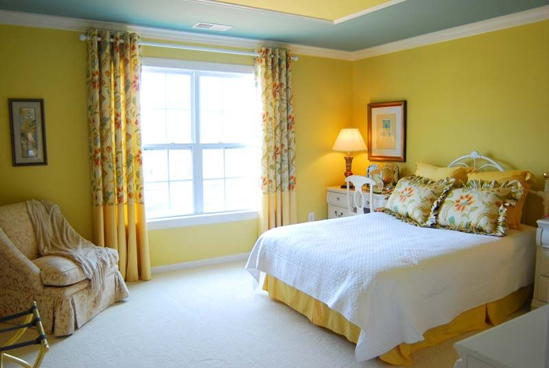 Yellow bedroom with blocked drapes | Favorite Places & Spaces ...