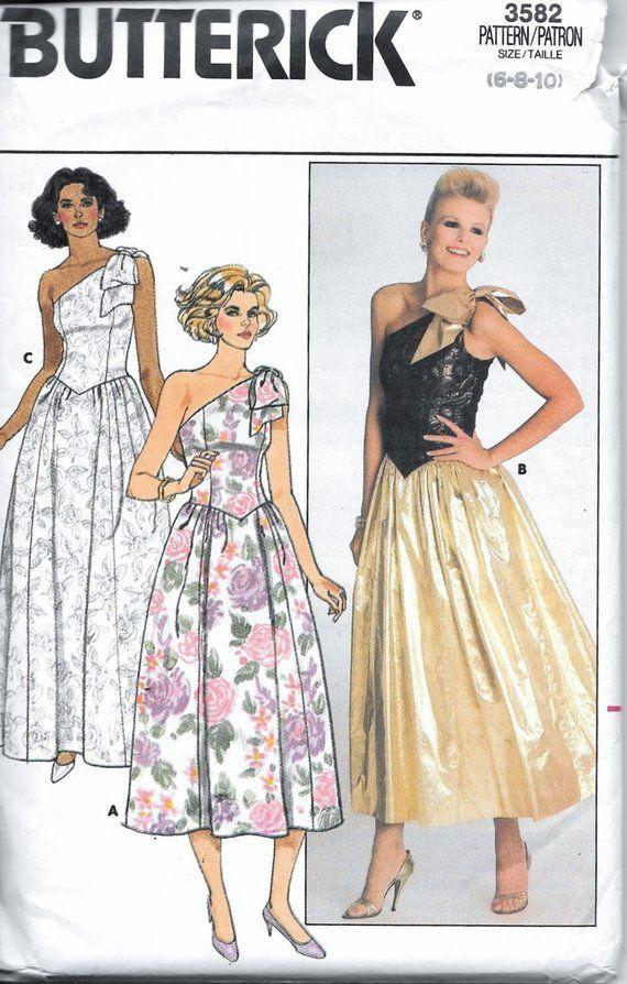 a3fc10f64e Vintage 80s Butterick 3582 UNCUT 1-Shoulder Sweetheart Evening Dress Gown  Pattern Size 6