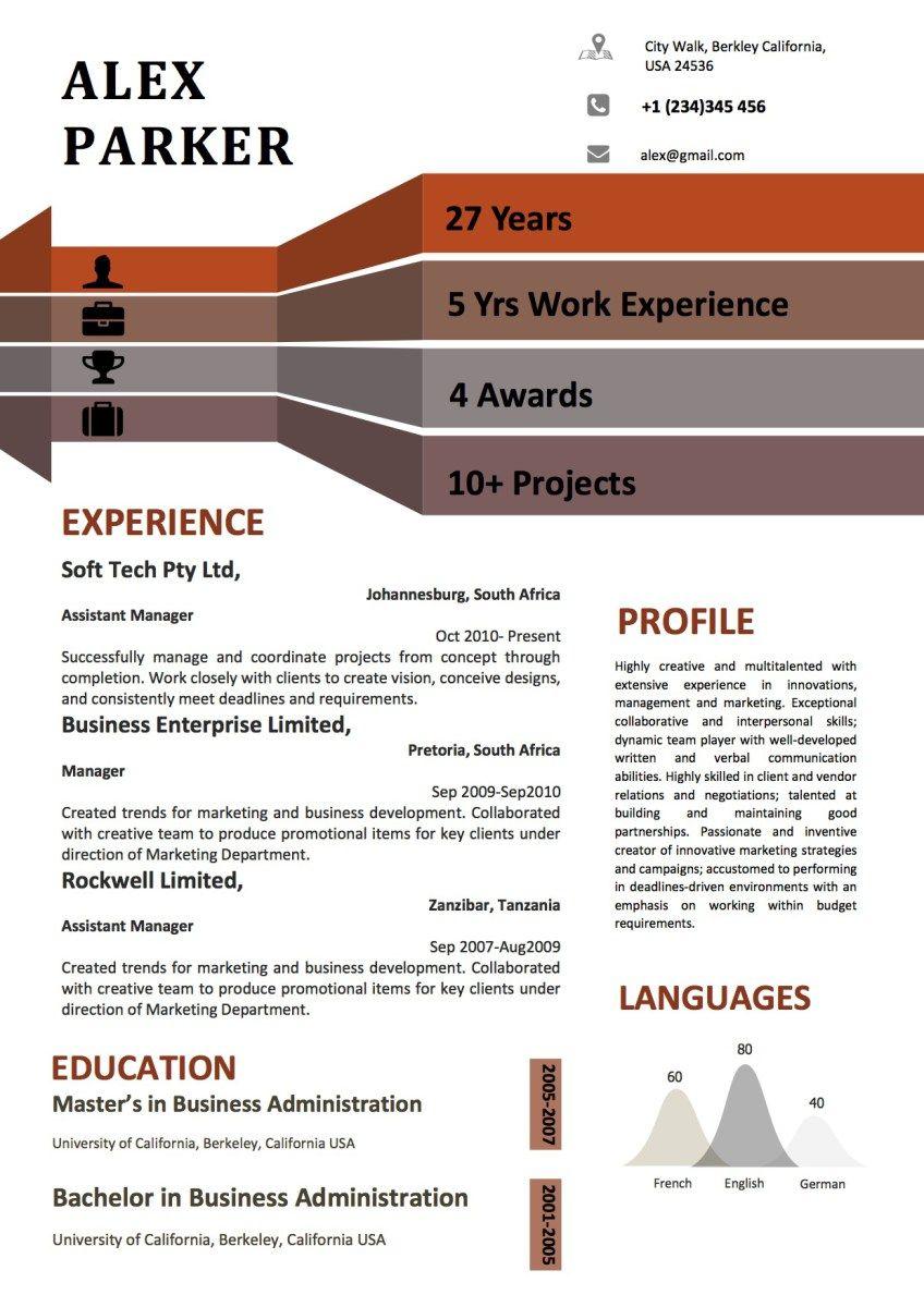 Infographics Graphical Dark Modern Resume Vista Resume