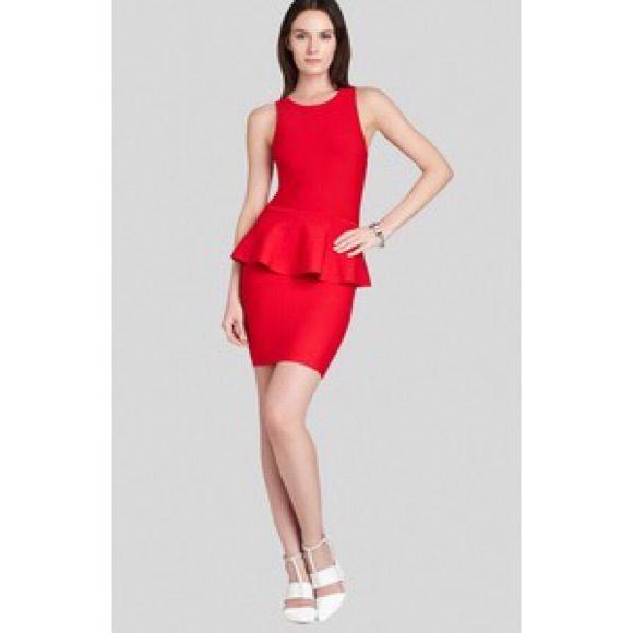 Bcbgmaxazria Barely Worn Red Peplum Bodycon Dress | Products