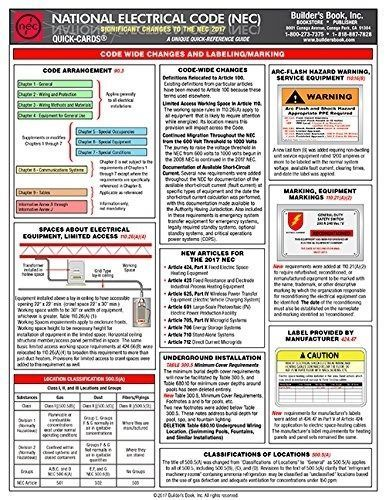 2017 National Electrical Code Nec Significant Changes Quick Card New Pamphlet