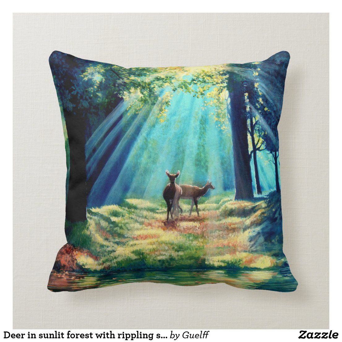 Deer In Sunlit Forest With Rippling Stream Throw Pillow Zazzle Com Throw Pillows Pillows Deer