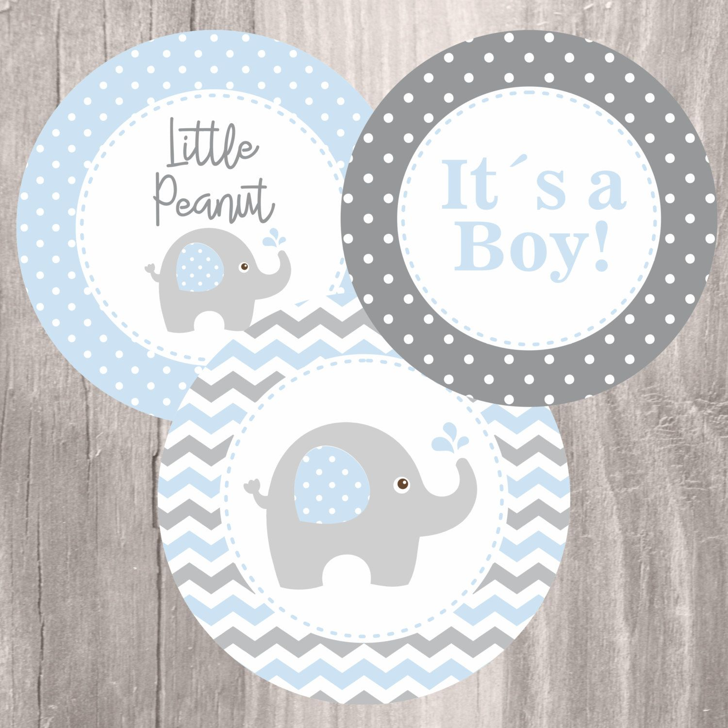 Blue Elephant Baby Shower Printable Centerpieces Blue And Grey
