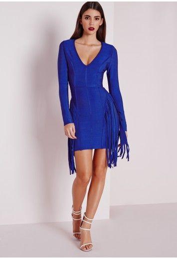 Premium Bandage Fringe Long Sleeve Bodycon Dress Blue - Dresses - Mini  Dresses - Premium Dresses - Missguided 4da33d12c