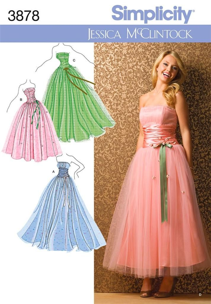 Simplicity 3878 Sewing Pattern Ladies Teens Dress Prom Gown Special ...
