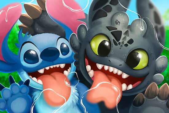 Spit Brothers Photographic Print By Tsaoshin Toothless And Stitch Stitch And Pikachu How Train Your Dragon