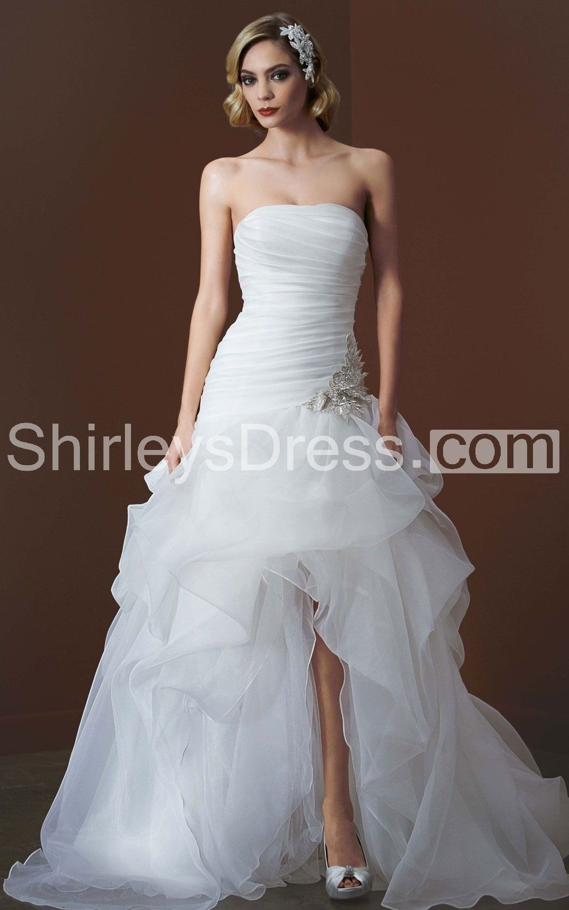 Ball gown wedding dress with bling  Strapless HiLo Ball Gown With Butterfly Applique  Country