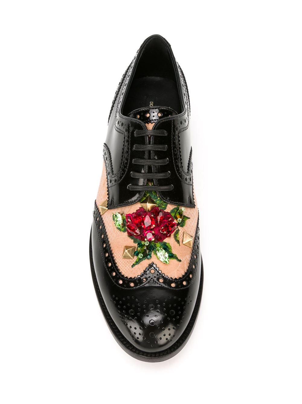 Dolce Et Dentelle Gabbana Brogues Embelli - Noir z4D6k