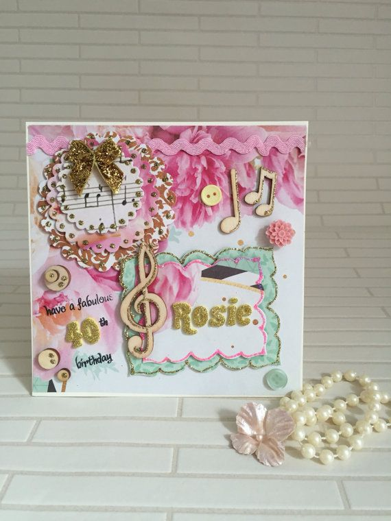 Personalized Birthday Card Handmade Special Day Music 40th Anniversary Craft Paper Friends Flowers UK Shop