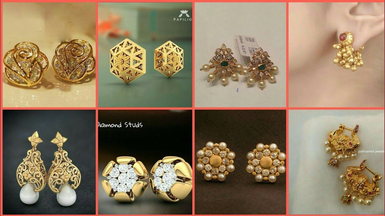 Latest Gold Ear Studs Designs Small Earrings For S 2018 Https