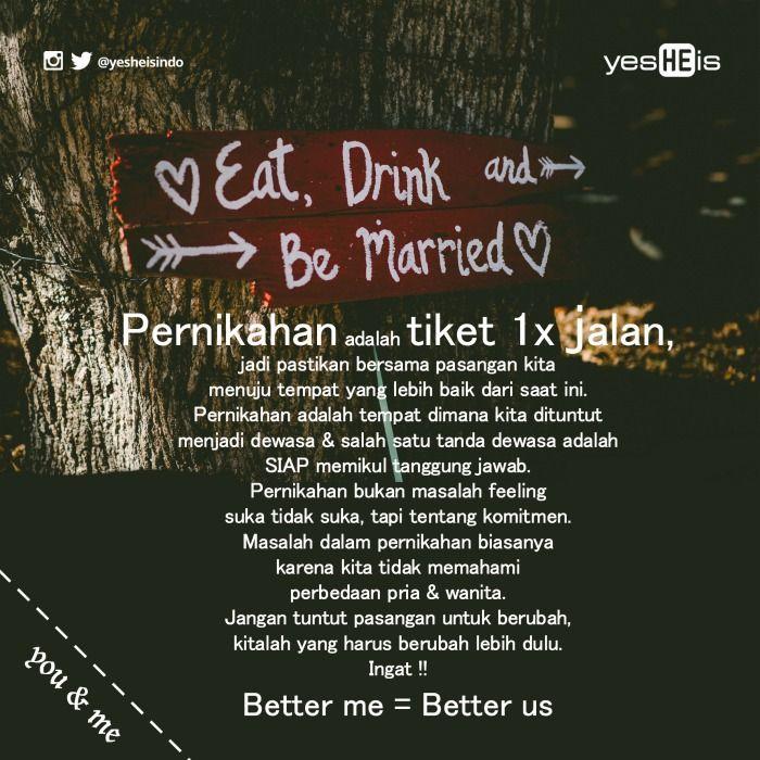 Pernikahan Adalah 1 Tiket Perjalanan Untuk 1x Jalan Better Me