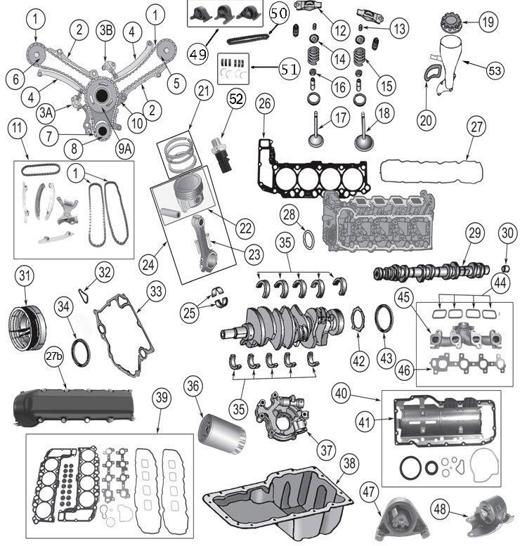Daimler-Chrysler 4.7 Engine Parts for Jeep WJ, WK