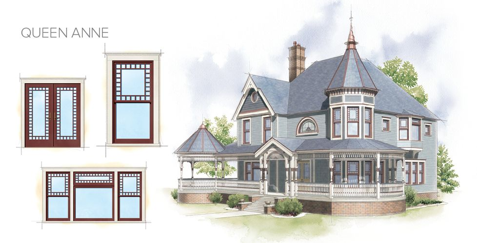 Queen Anne Home Style Window Door Overview | Architectural Drawings