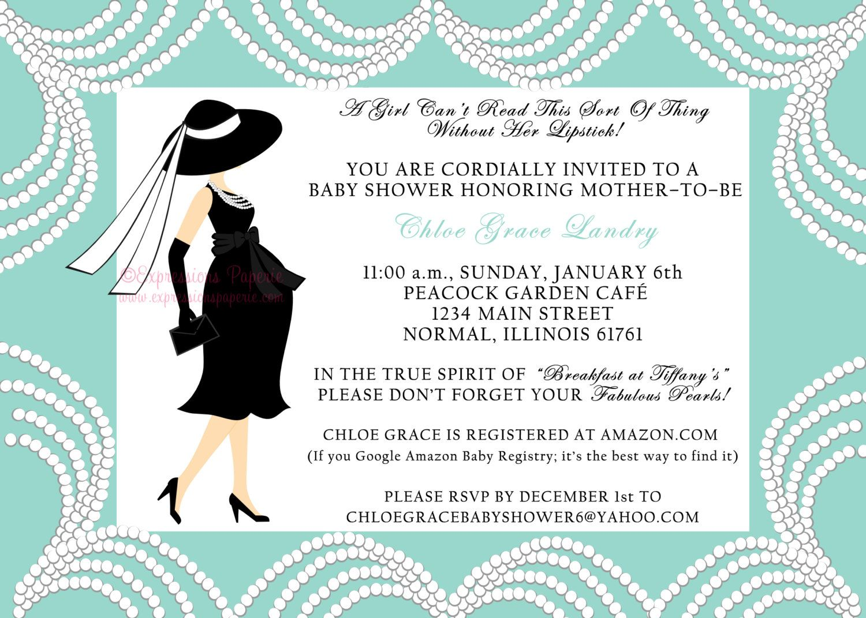 breakfast at tiffanys baby shower invitation | Blue Elegant Pearl ...