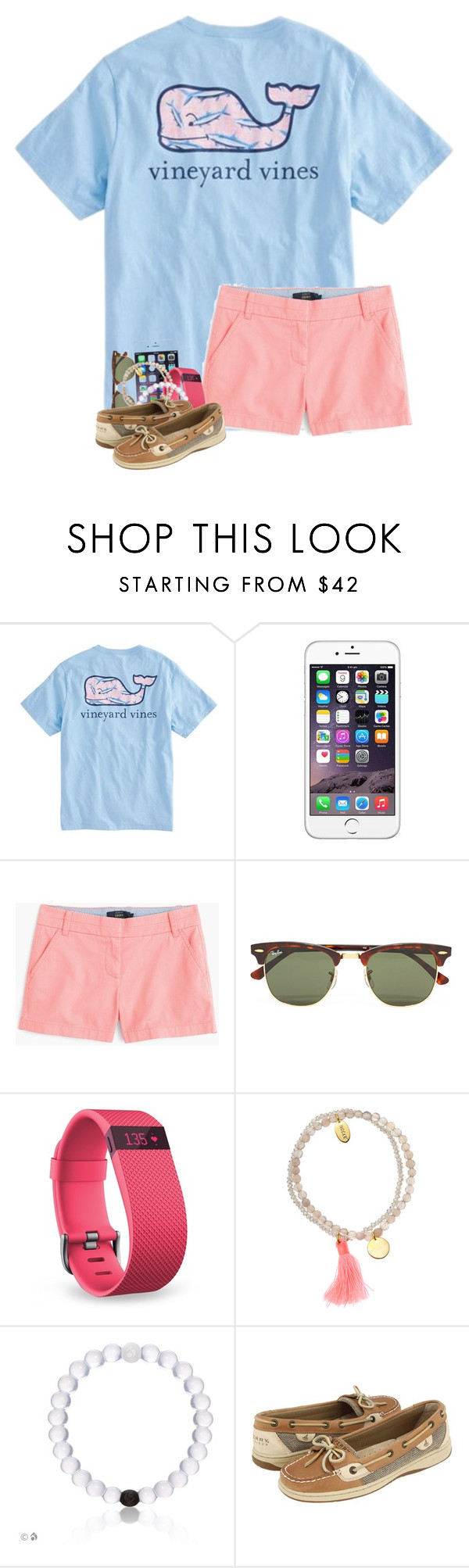 """&&; going boating"" by strawberry-styles ❤ liked on Polyvore featuring Vineyard Vines, J.Crew, Ray-Ban, Fitbit, Jigsaw and Sperry"