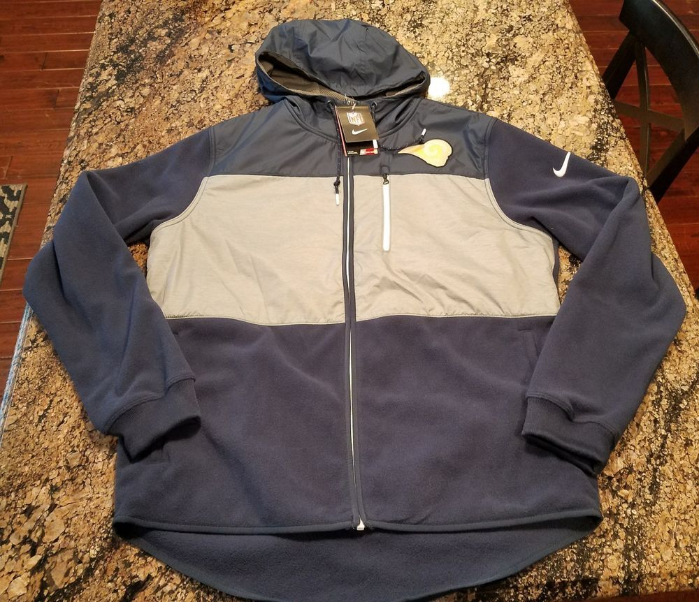 best sneakers 93036 4a280 Details about Nike NFL LA Rams Fleece Hoodie Hooded Full Zip ...