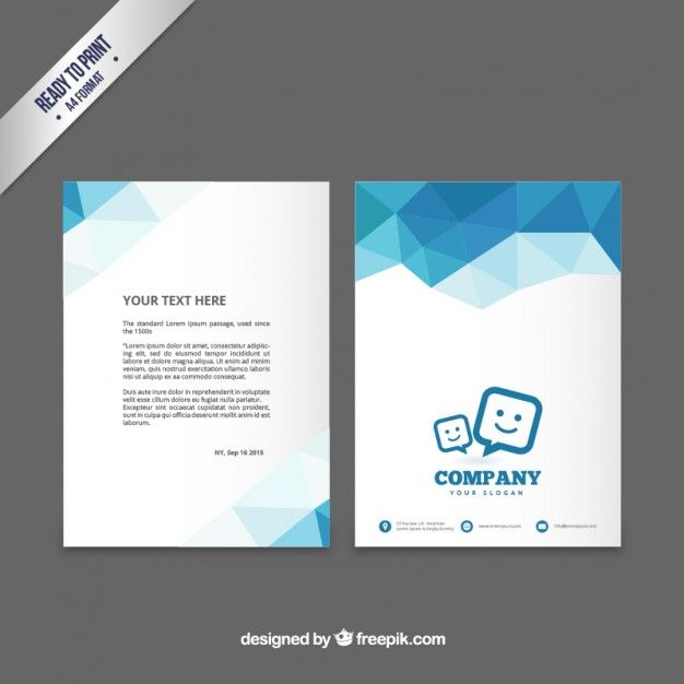 Brochure Template With Blue Polygons Free Vector  Design