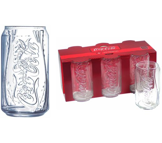 HTD Canada Coca Cola Can Glasses Gift Set of 6 - 12 oz. Coca-Cola Can Glass