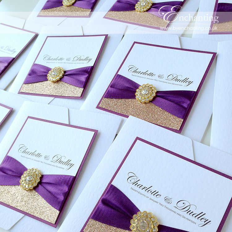 Plum & Gold Wedding Invitations | The Cinderella Collection ...