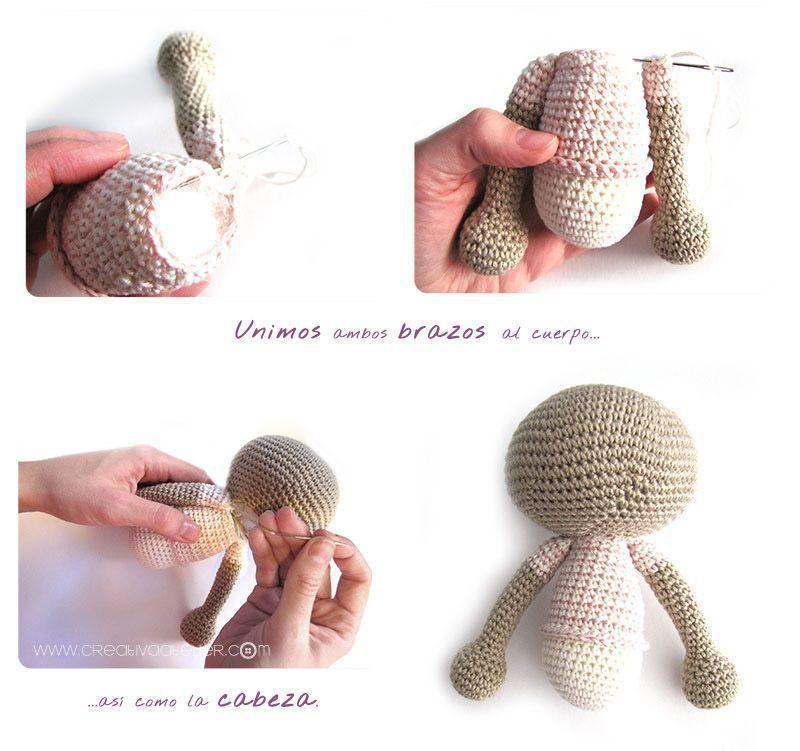 Peluche de crochet conejita de orejas largas - Amigurumi ...