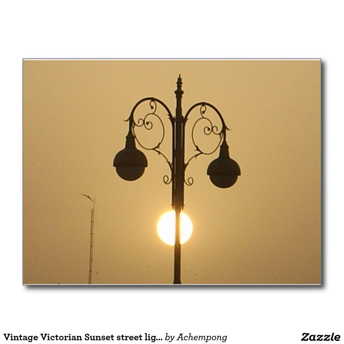Vintage Victorian Sunset street light Postcard #Vintage #Victorian #Sunset #street #light  #Postcard