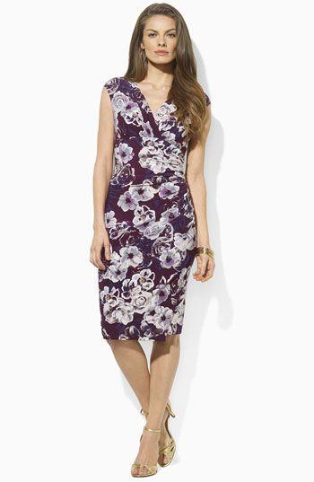 Lauren Ralph Lauren Floral Jersey Sheath Dress | Nordstrom