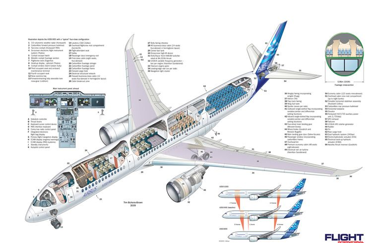 Airbus A350 Wide Aircraft Schematic | Military and Commercial ...