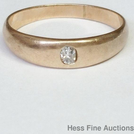 Petite Old Euro Cut Diamond Civil War Era Size 3 Band Ring 14k