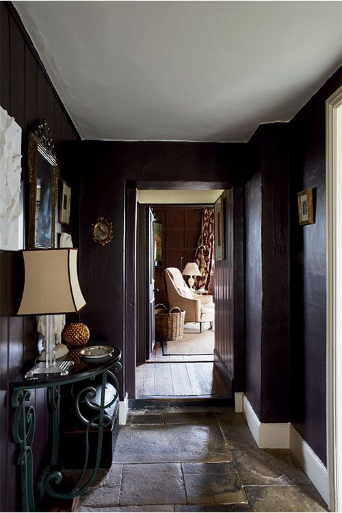 Hallway painted in farrow ball mahogany modern Hallway colour scheme ideas